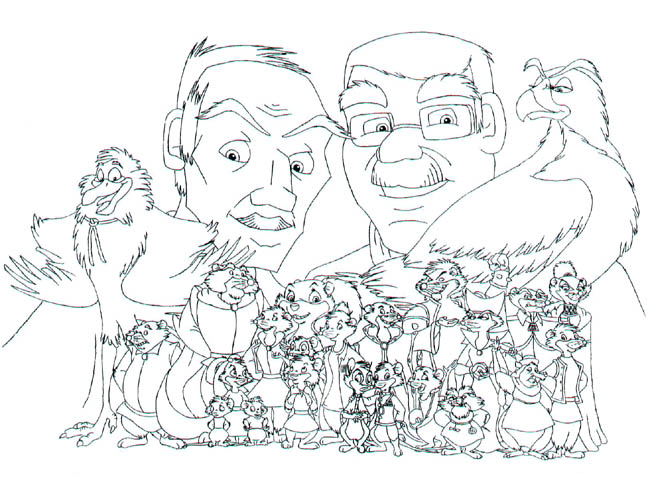 Don Bluth and Gary Goldman with the characters of NIMH: The Final Experiment in front