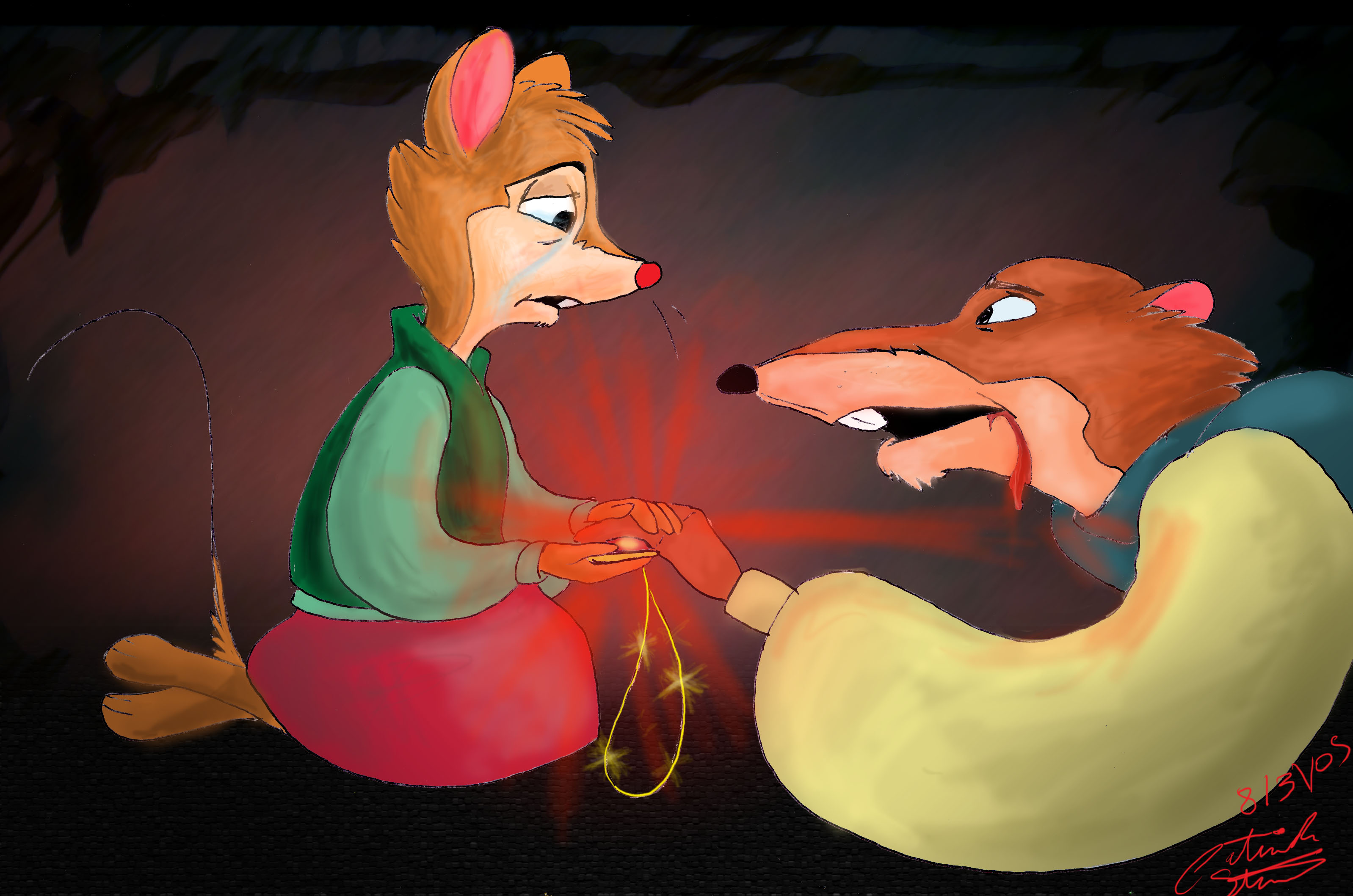 Mrs. Brisby accepting the Stone from dying Justin